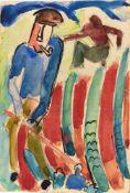 Karl Schmidt-Rottluff (Rottluff 1884 - 1976 Berlin) Künstlerpostkarte 'Gärtner', 1922 Aquarell