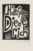 Karl Schmidt-Rottluff (Rottluff 1884 - 1976 Berlin) Ex libris 'Hans Diederich', 1919 Holzschnitt auf