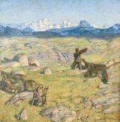 Erich Erler-Samedan (Frankenstein, Schlesien 1870 - 1946 Icking) 'Ziegenhirte in den Alpen' Öl auf