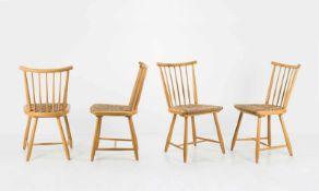 Arno Lambrecht Vier Stühle aus der 'WKS-Serie', 1955 H. 89,5 x 45 x 51 cm. WK-Möbel, Stuttgart.