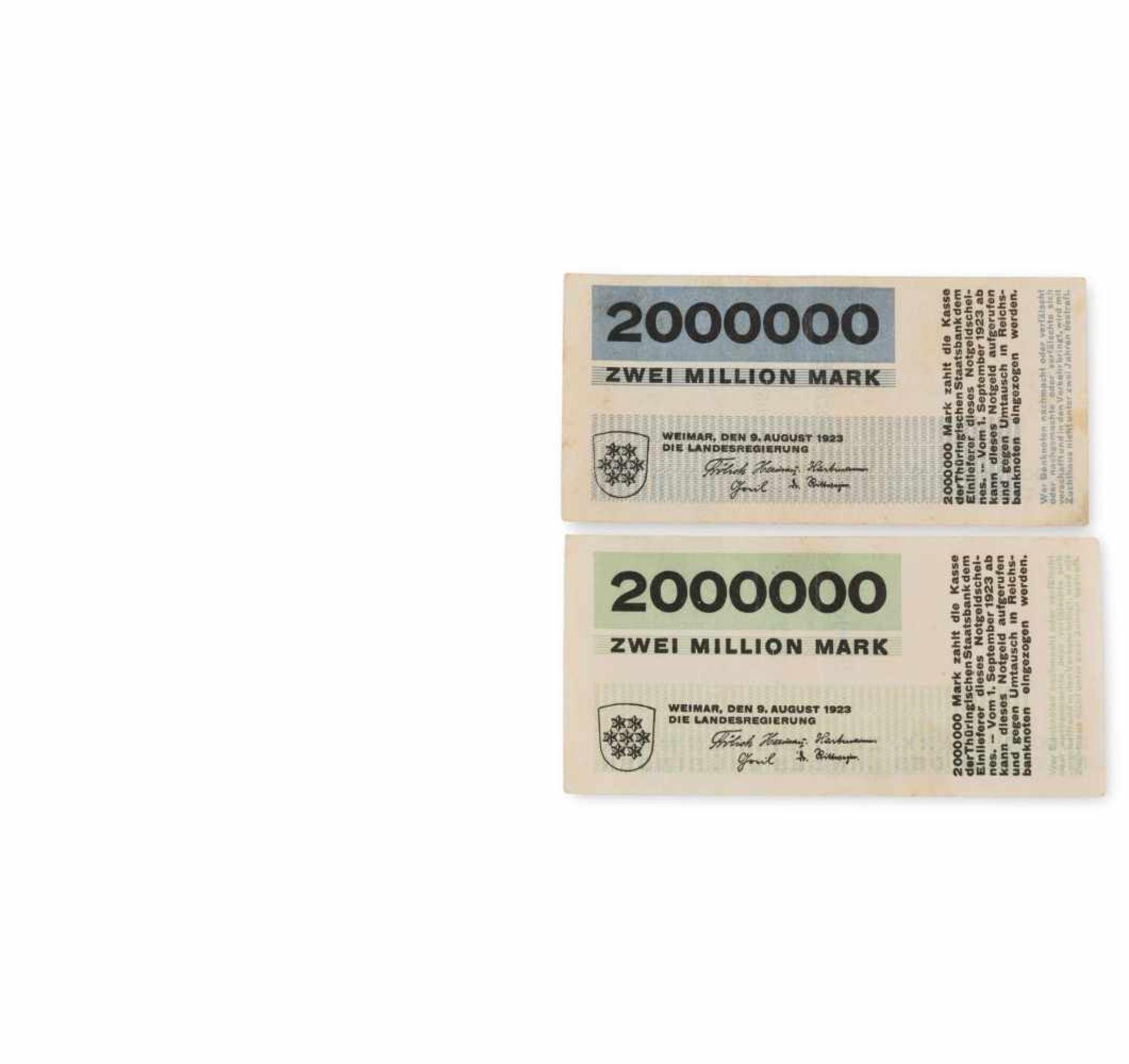 Herbert Bayer Sechs Notgeld-Noten der Weimarer Landesregierung, 1923 Sechs Notgeld-Noten auf