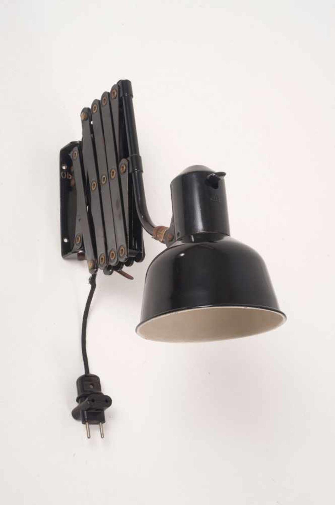 Los 21 - SiS, Schweinfurt 'Scherenleuchte', 1930er Jahre L. 99 cm (max.). Metallrohr, Metallblech, schwarz