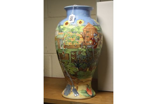 A Large Boxed Old Tupton Ware Vase Tube Lined Allotment Scene By