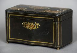 A 19th century French caddy/cigar box Of serpentine form, with brass, ivory and other inlays,