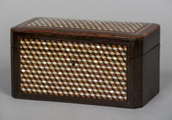 A 19th century French mother-of-pearl inlaid tea caddy Of canted rectangular form,
