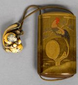 A late 19th century Japanese gold lacquered inro Of five sectional form decorated with a cockerel,