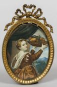A 19th century portrait miniature on ivory Depicting a bejewelled young lady holding aloft a bowl