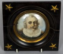 ENGLISH SCHOOL (18th/19th century) Portrait miniature of a Bearded Gentleman Wearing a