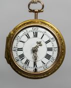 An 18th century yellow metal pair cased pocket watch The white enamelled dial with Roman numerals