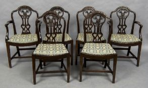 A set of six Hepplewhite style mahogany dining chairs,