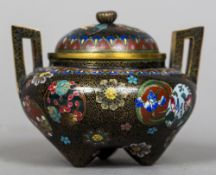 A small 19th century cloisonne lidded censor Of squat baluster form with angular handles,