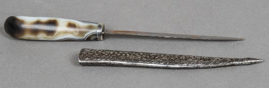 A 19th century Persian agate handled dagger Housed in a silvered polished steel scabbard.
