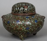 A 19th century Chinese cloisonne censor With pierced domed removable lid,