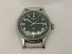 A Hamilton 6B Royal Air Force wristwatch The signed black dial with Roman numerals,