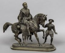 A 19th century bronze Modelled as a courtly gentleman astride his mount with a young grooms man,
