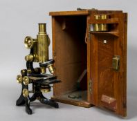 A J Swift & Son Research Microscope In mahogany case,