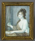 A 19th century miniature portrait on ivory Depicting a young girl at a writing desk holding a