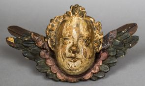 A 17th/18th century carved polychrome painted winged cherub's bust 30 cm wide.