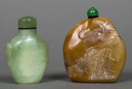 A Chinese carved jade snuff bottle and stopper Together with another, hardstone,