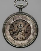 An unmarked silver open escapement pocket watch The reverse decorated with fruiting vines and