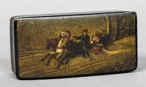 A 19th century Russian papier mache snuff box Of hinged rectangular form,