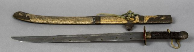 A 19th century Chinese Liuyedao sword Of typical form,