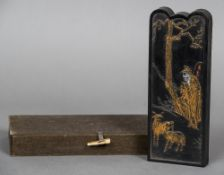 A boxed Chinese ink block Decorated to one side with a figure and goats,