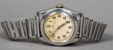 A Stainless steel mid-size Rolex Oyster gentleman's wristwatch The dial with Arabic numerals. 3.