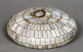 A mother-of-pearl mounted Gujarat box and cover Of stepped domed form with removable lid.