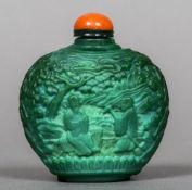 A Chinese cameo glass snuff bottle Decorated in the round with sagely figures in a tree filled