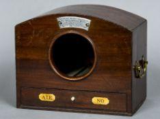 A 19th century mahogany ballot box Of domed form,
