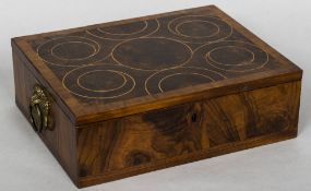 A 19th century laburnum oyster veneered box The line inlaid crossbanded oyster veneered hinged top