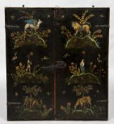 An 18th century chinoiserie lacquered hanging cabinet Of slender form with twin doors,