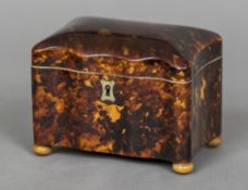 A 19th century tortoiseshell tea caddy Of small proportions,