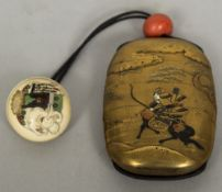 A Japanese gilt lacquered inro,