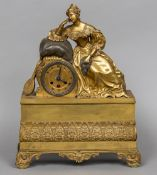 A French Empire ormolu cased mantle clock The dial with Roman numerals and barrel movement numbered