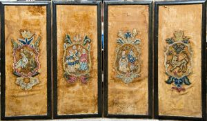 Four 18th/19th century embroidered silk panels Two centred with figural vignette crestings,
