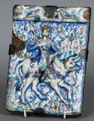 A 19th century Qajar tile Finely painted and relief moulded with a warrior astride an ox;