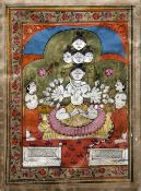An antique Indo-Persian miniature Worked in watercolour and bodycolour on vellum with a multi-armed