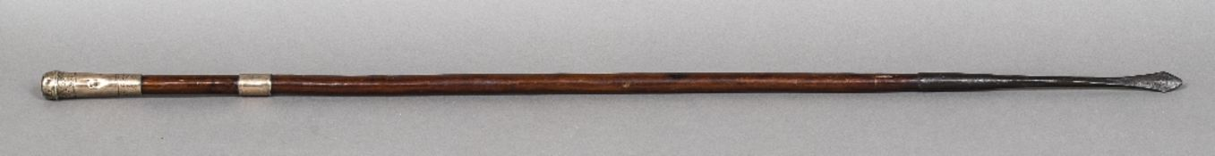 A 19th century white metal mounted pig sticking lance, probably Indian 108 cm long.