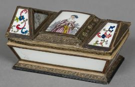 A Regency decalcomania decorated casket The shaped hinged lid with floral and mirror inset panels