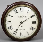 """An early 19th century mahogany cased wall clock The white painted 9"""" dial signed W Brown,"""