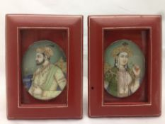 INDIAN SCHOOL (19th/20th century) Miniature Portraits of a Maharaja and a Maharani Watercolours,
