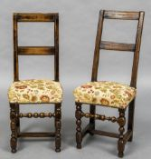 A matched pair of 18th century Continental fruitwood back stools Each with high back,