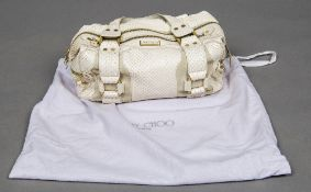 A Jimmy Choo white lizard handbag Together with original Jimmy Choo cloth bag. 40 cm wide.