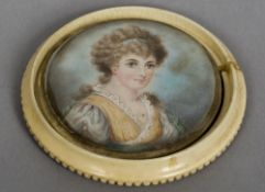 ENGLISH SCHOOL (19th century) Portrait of Lady Jessie Linds Watercolour on ivory 8.