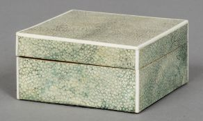 An Art Deco shagreen and ivory box Of hinged form,
