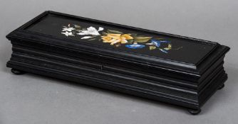 A late 19th century Continental pietra dura box The hinged lid inset with a floral filled specimen