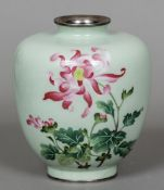 A wireless cloisonne and silver vase Of ovoid form,