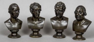 Four 19th century patinated bronze busts Depicting the Duke of Wellington, William Pitt,